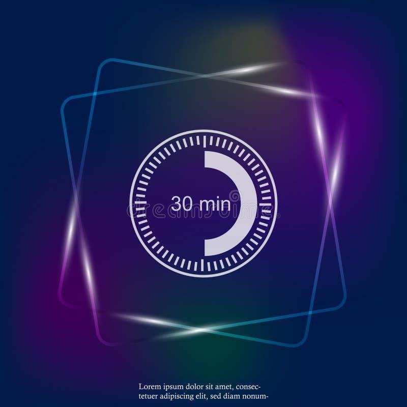 Icono ligero de neón del reloj que indica un intervalo de tiempo de 30 minutos ilustración del vector