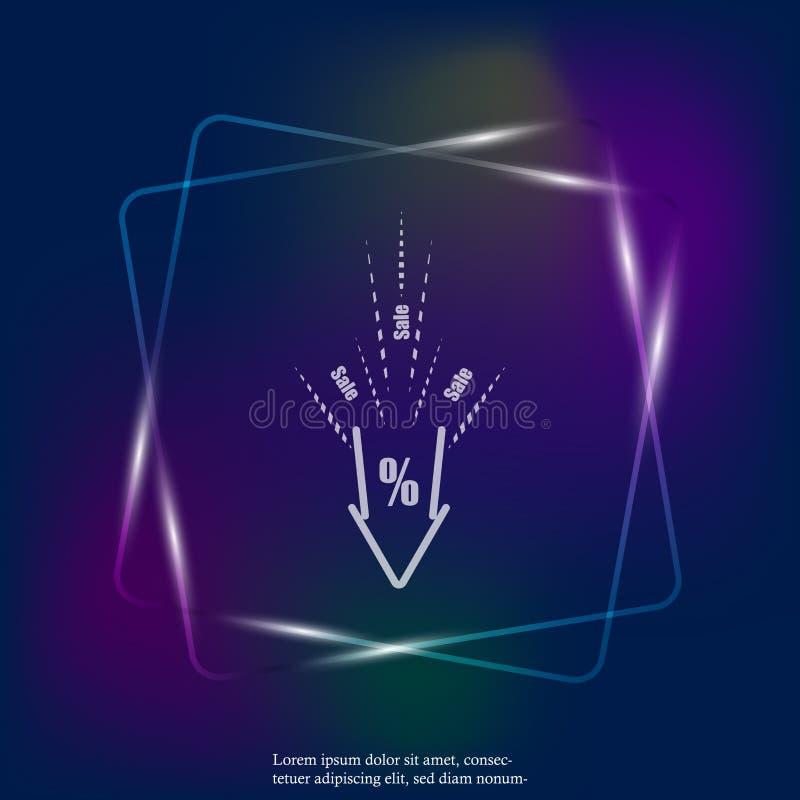 Icono ligero de neón del vector de precios en baja descuentos Venta en ilustración del vector