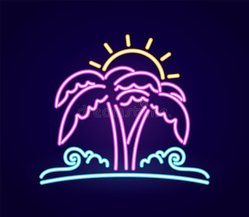 Icono ligero de neón de la playa 3d Palmera con el sol y la ola oceánica stock de ilustración