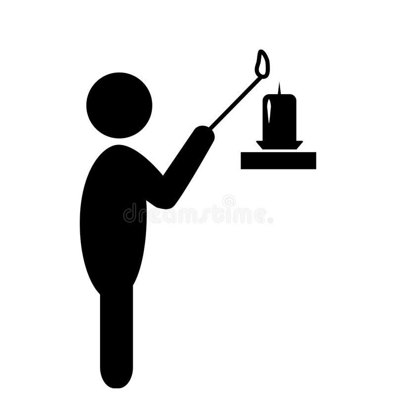Icono ligero del pictograma del negro plano de la vela del hombre aislado en blanco libre illustration