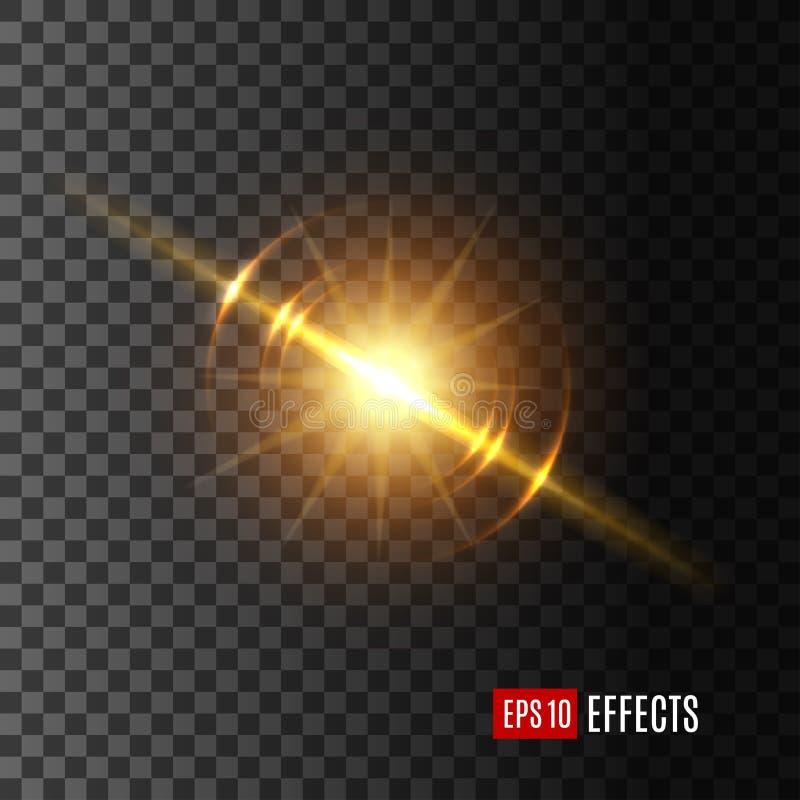 Icono ligero del vector del efecto del flash o de la sol stock de ilustración