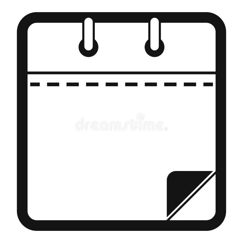 Icono limpio del calendario, estilo negro simple stock de ilustración