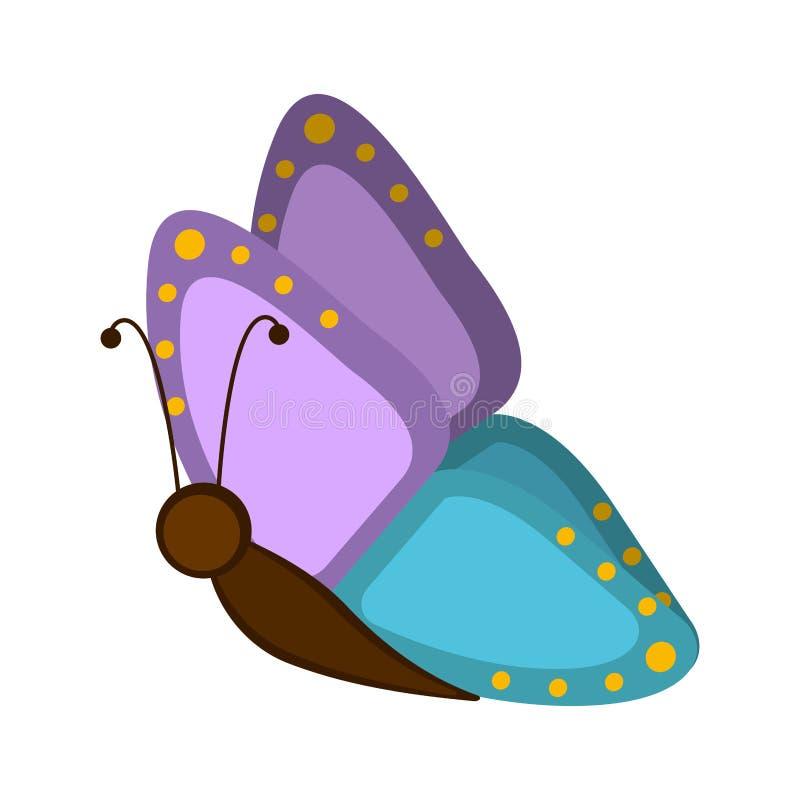Icono lindo aislado de la mariposa stock de ilustración