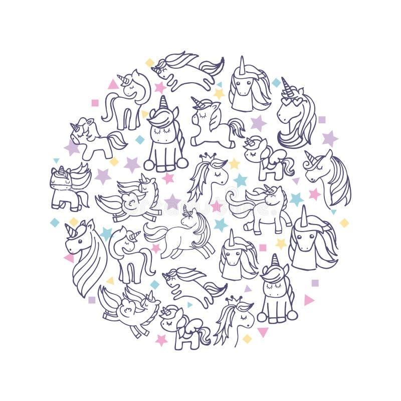 icono lindo de dibujo de los unicornios del sistema ilustración del vector