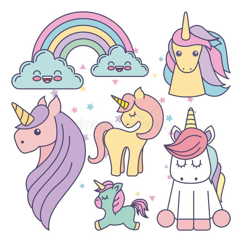 icono lindo de dibujo de los unicornios del sistema stock de ilustración