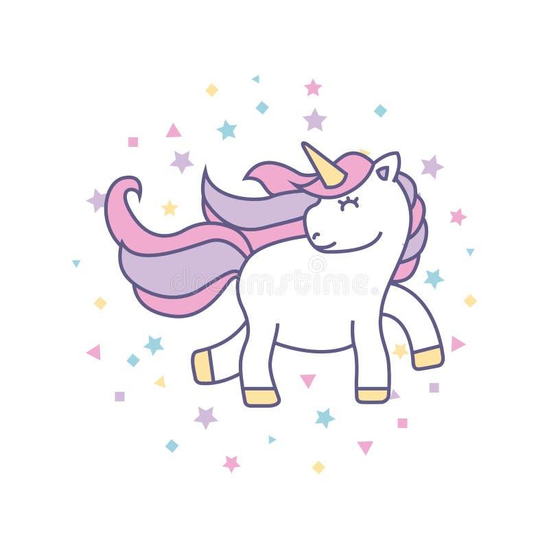 icono lindo de dibujo del unicornio ilustración del vector