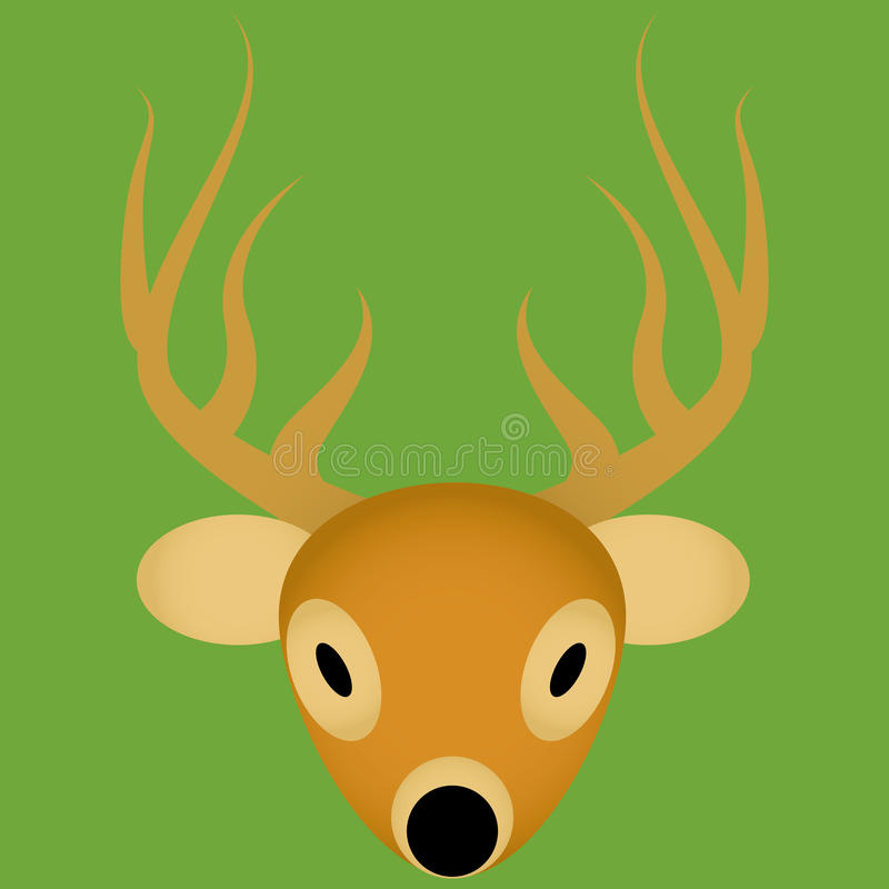 Icono lindo de la cara de los ciervos de la historieta del vector aislado fotografía de archivo