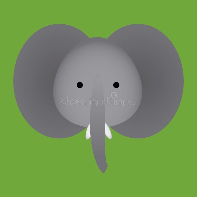 Icono lindo de la cara del elefante de la historieta del vector aislado ilustración del vector