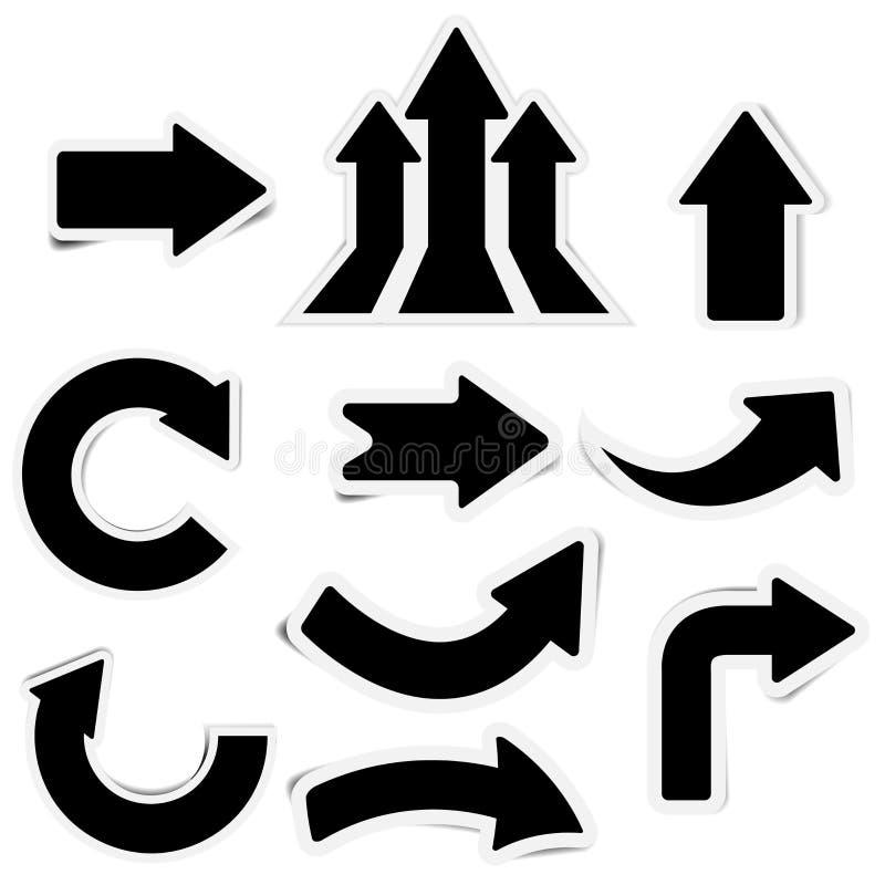 Icono lindo de la etiqueta engomada de la flecha negra ilustración del vector