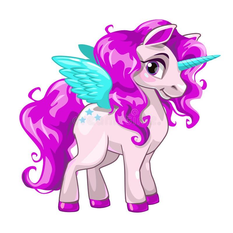 Icono lindo de la princesa del unicornio ilustración del vector