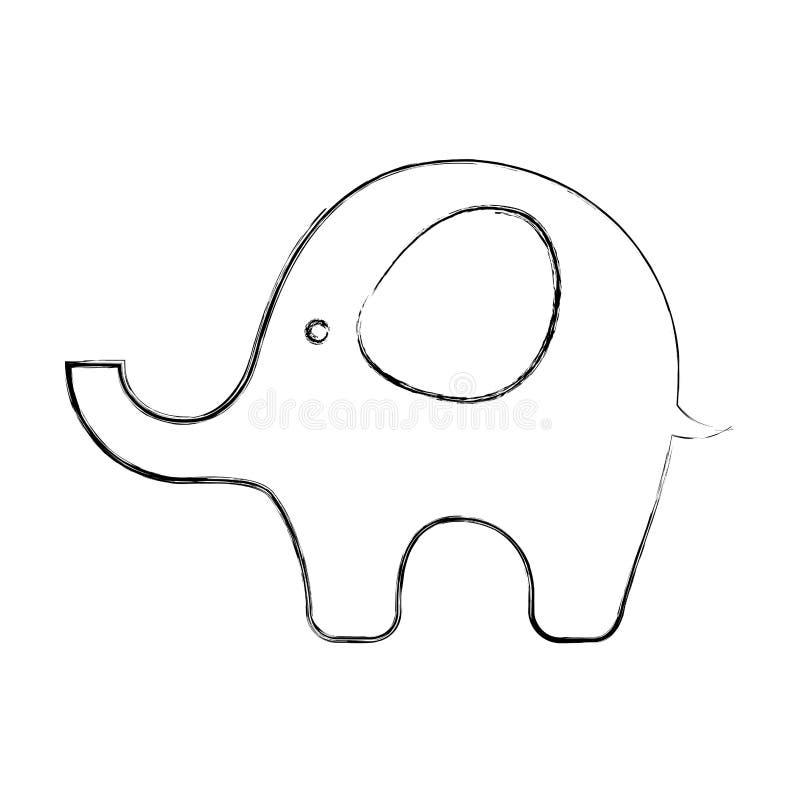 Icono lindo del bebé del elefante libre illustration