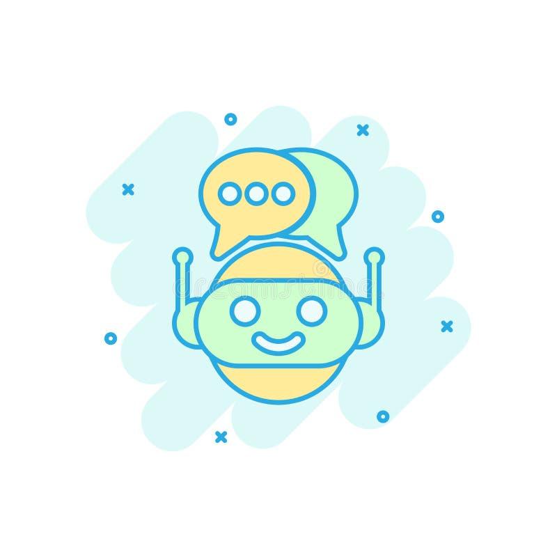 Icono lindo del chatbot del robot en estilo cómico Pictograma del ejemplo de la historieta del vector del operador del Bot Negoci stock de ilustración