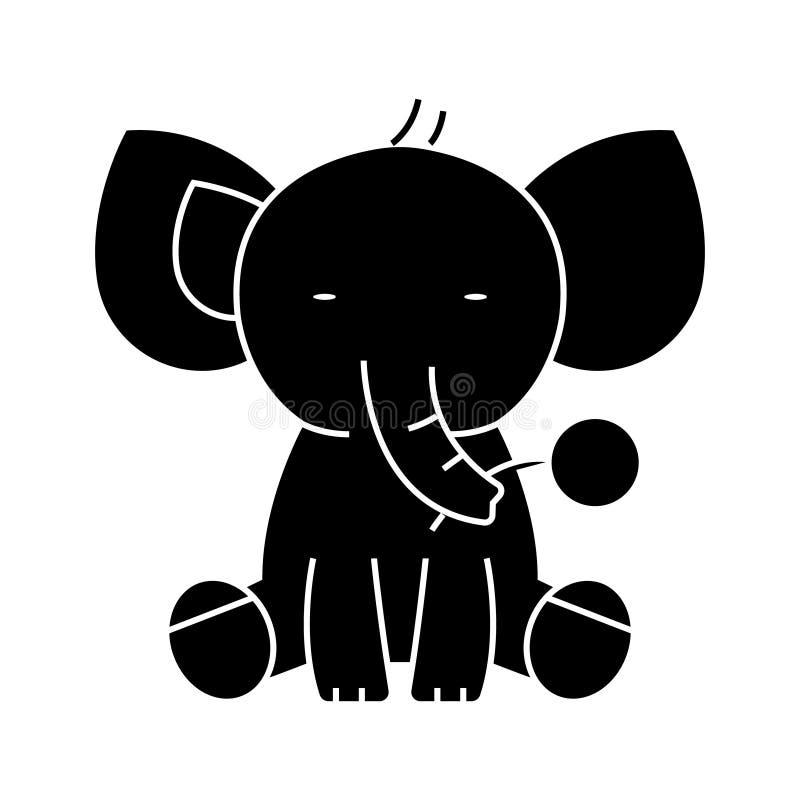 Icono lindo del elefante, ejemplo del vector, muestra negra en fondo aislado libre illustration