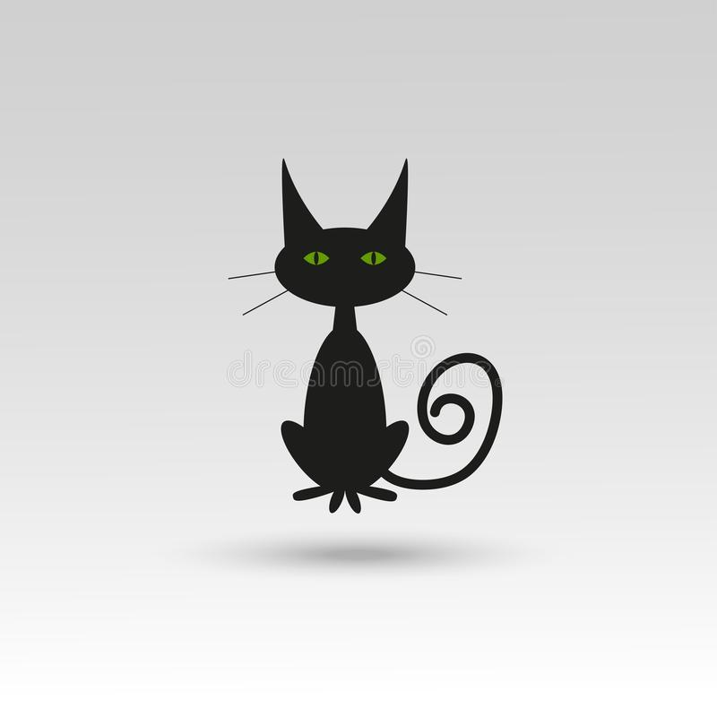 Icono lindo del gato de Halloween para la tarjeta del día de fiesta, invitación y libre illustration