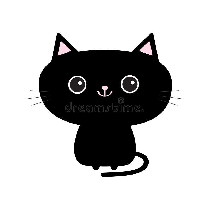 Icono lindo del gato negro Personaje de dibujos animados divertido Animal de Kawaii Cola, barba, ojos grandes Gatito de Kitty Col stock de ilustración