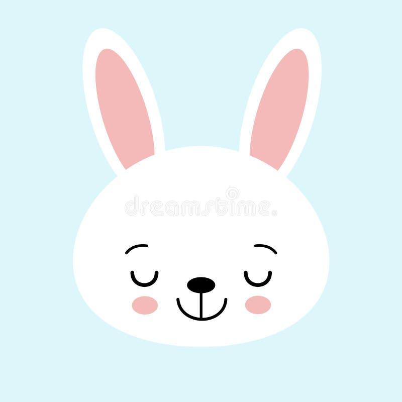 Icono lindo del gráfico de vector del conejito Cabeza animal del conejo blanco, ejemplo de la cara Aislado en fondo azul libre illustration