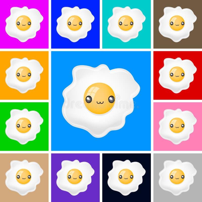 Icono lindo del huevo frito - sistema del vector del emblema libre illustration