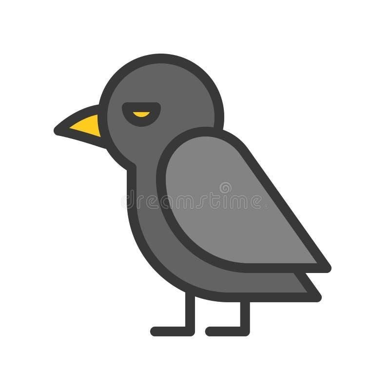 Icono lindo del pájaro del cuervo, movimiento editable del carácter de Halloween stock de ilustración