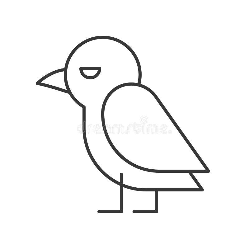 Icono lindo del pájaro del cuervo, movimiento editable del carácter de Halloween ilustración del vector