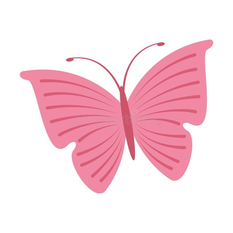 Icono lindo del rosa de la mariposa stock de ilustración