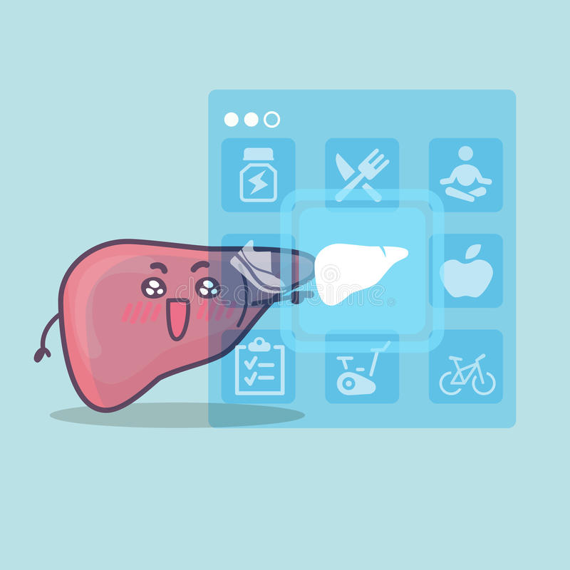 Icono lindo del tacto del hígado de la historieta stock de ilustración