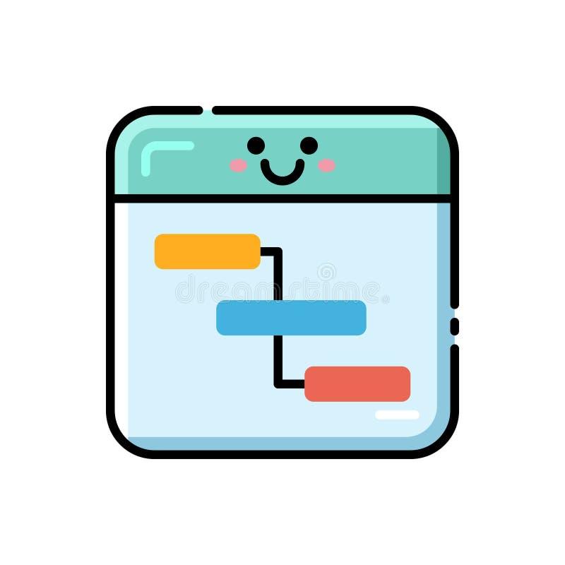 Icono lineal del color del organigrama ilustración del vector