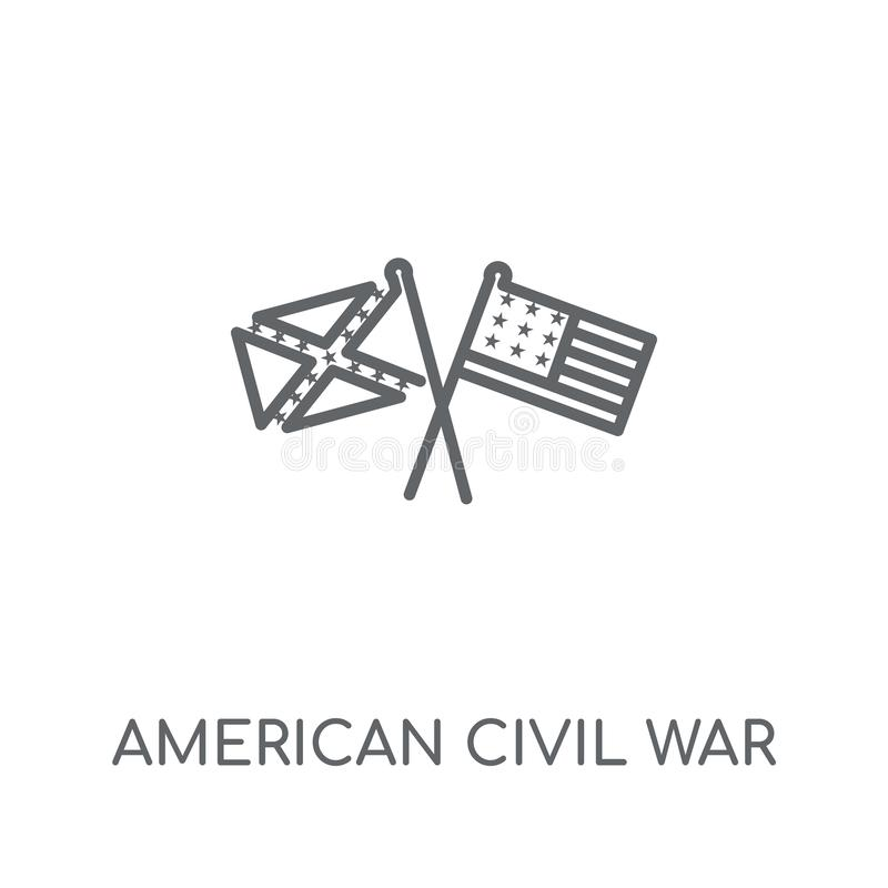 icono linear americano de la guerra civil Wa civil del americano moderno del esquema stock de ilustración