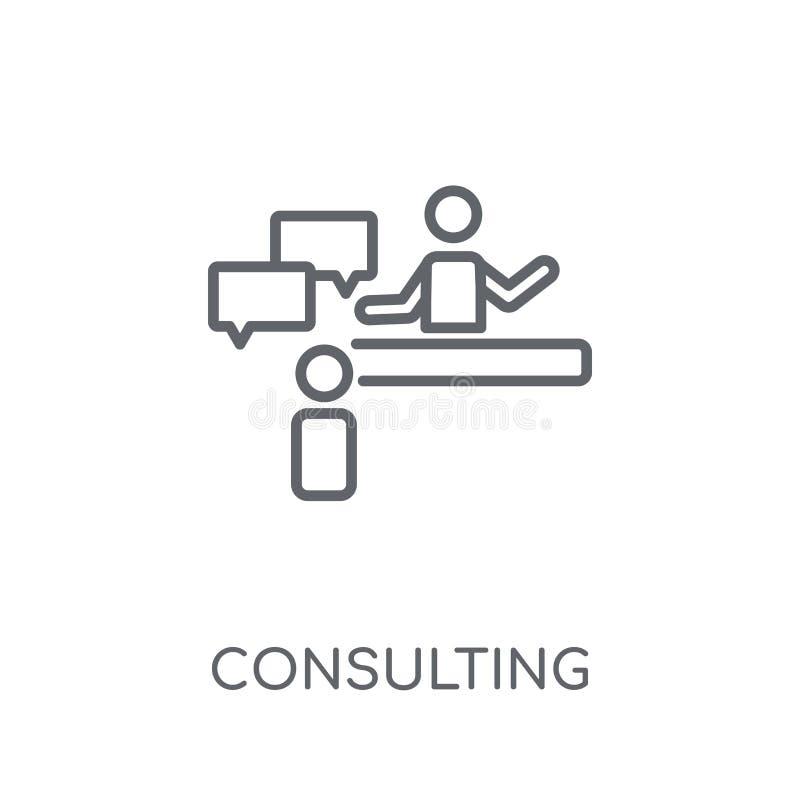 Icono linear asesor Concepto asesor o del logotipo del esquema moderno ilustración del vector