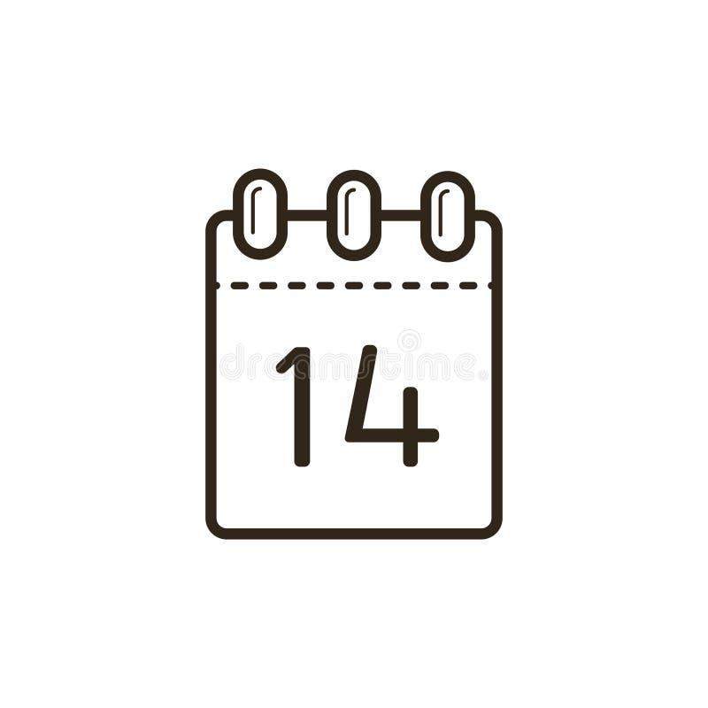Icono linear blanco y negro del calendario de rasgón con el catorceno stock de ilustración