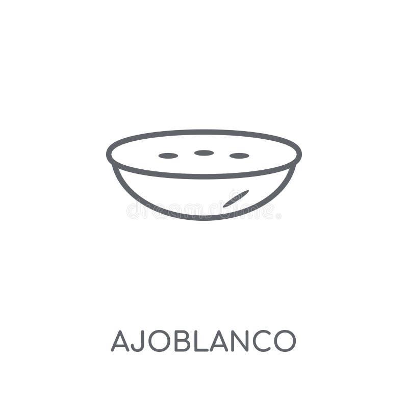 Icono linear de Ajoblanco Concepto moderno del logotipo de Ajoblanco del esquema encendido stock de ilustración