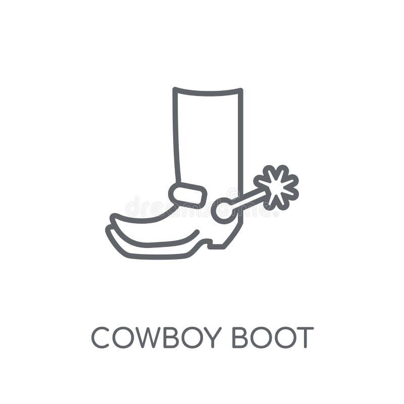 Icono linear de Boot del vaquero Concepto moderno del logotipo de Boot del vaquero del esquema ilustración del vector