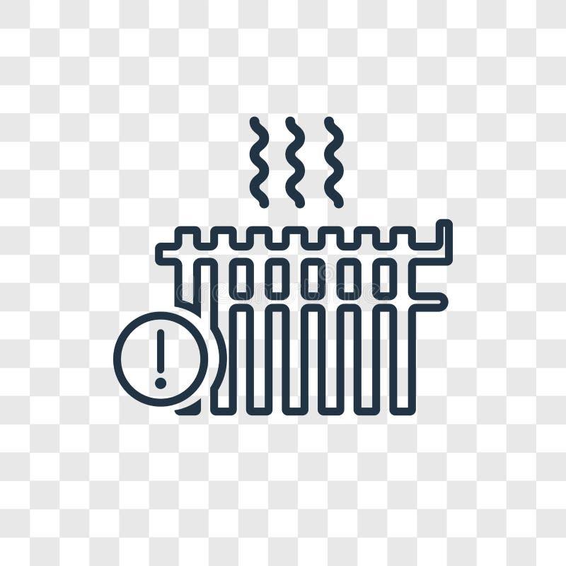 Icono linear de calefacción del vector del concepto aislado en backg transparente stock de ilustración
