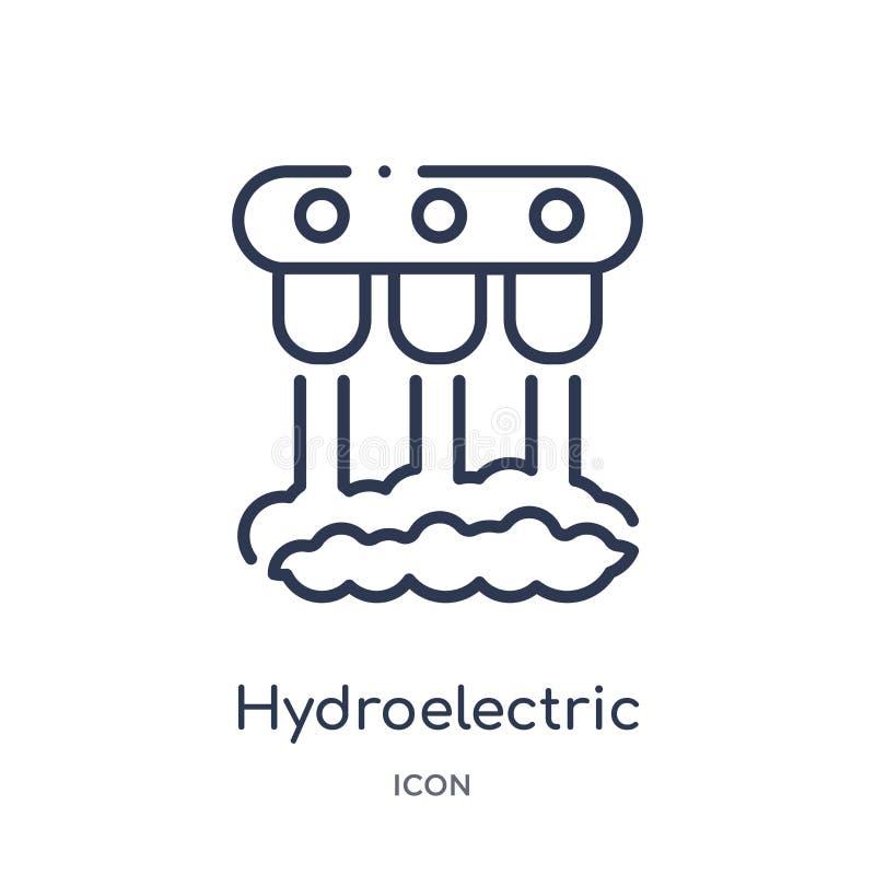 Icono linear de central hidroeléctrica de la colección del esquema de la ecología Línea fina vector de central hidroeléctrica ais libre illustration