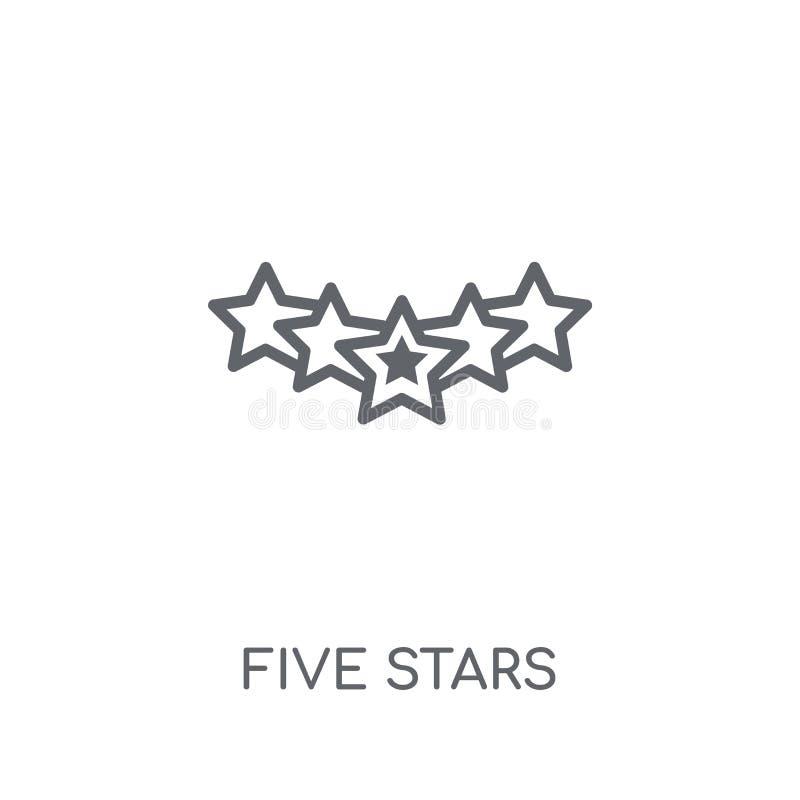 Icono linear de cinco estrellas Concepto moderno o del logotipo de las estrellas del esquema cinco ilustración del vector
