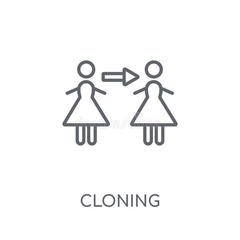 Icono linear de clonación Concepto de clonación del logotipo del esquema moderno en pizca stock de ilustración