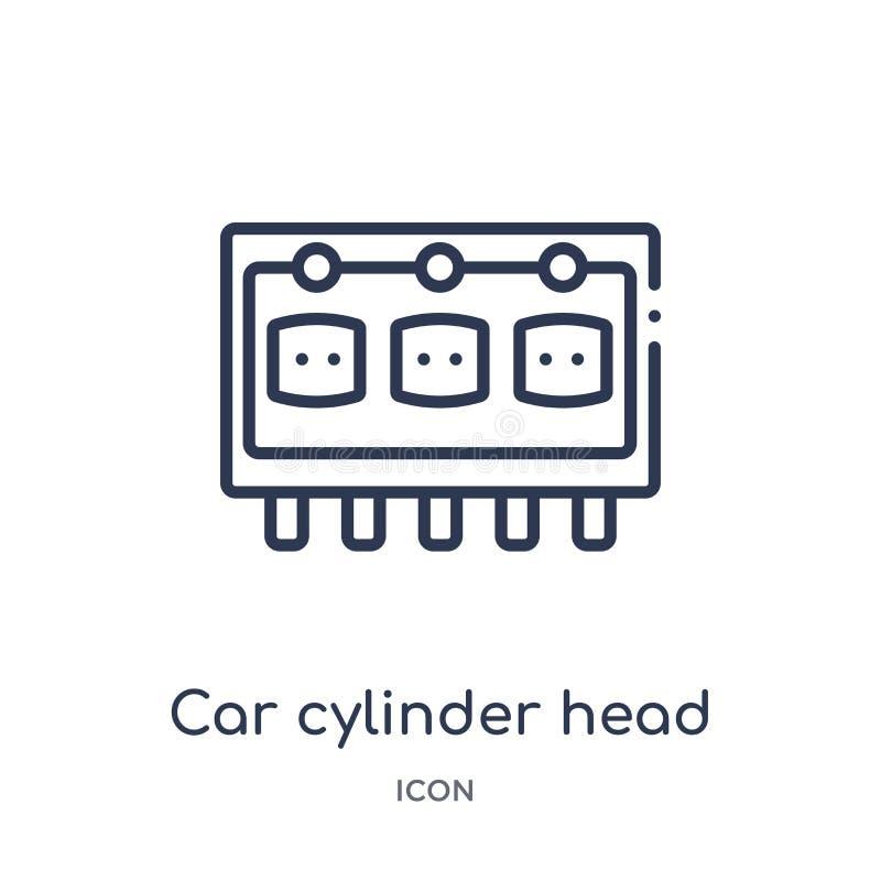 Icono linear de culata del coche de la colección del esquema de las piezas del coche Línea fina vector de culata del coche aislad stock de ilustración