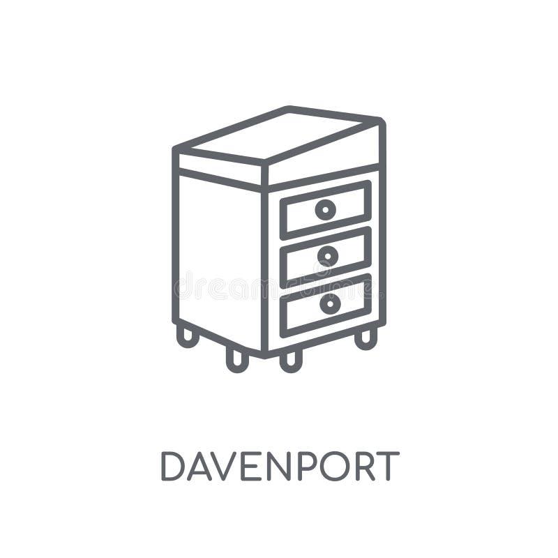 Icono linear de Davenport Concepto moderno del logotipo de Davenport del esquema encendido stock de ilustración