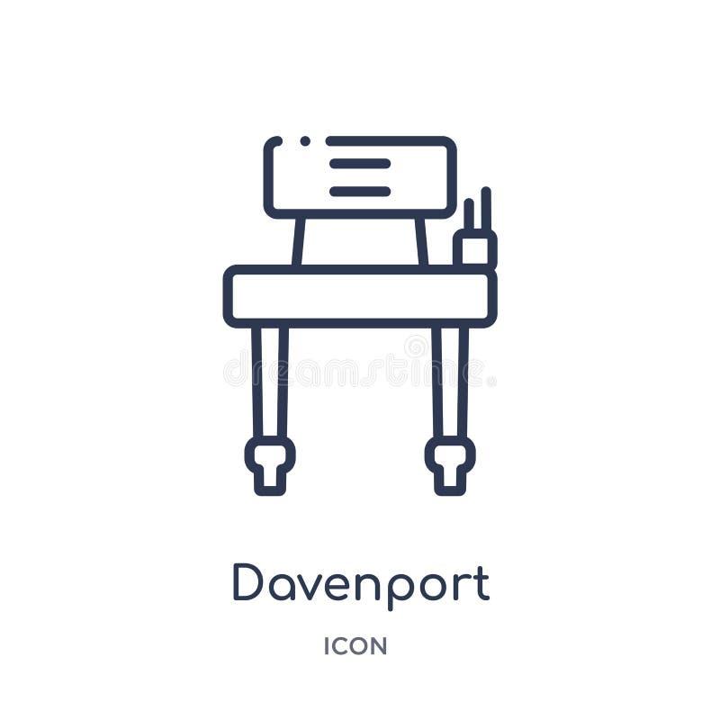 Icono linear de Davenport de la colección del esquema de los muebles y del hogar Línea fina icono de Davenport aislado en el fond ilustración del vector