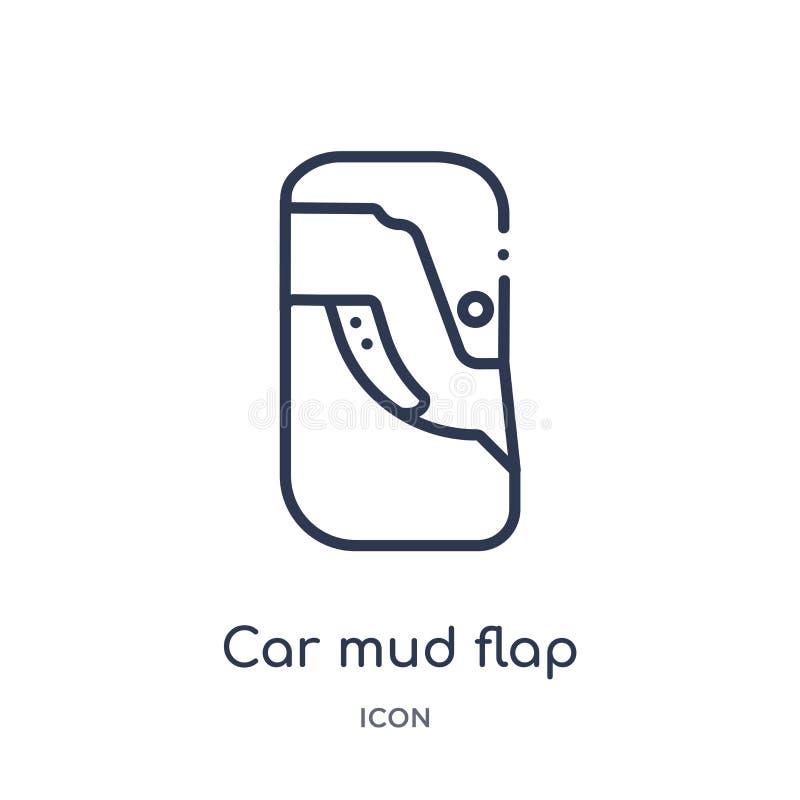 Icono linear de la aleta del fango del coche de la colección del esquema de las piezas del coche Línea fina vector de la aleta de ilustración del vector