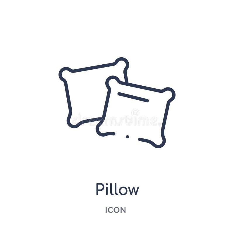 Icono linear de la almohada de la colección del esquema del hotel y del restaurante Línea fina icono de la almohada aislado en el ilustración del vector