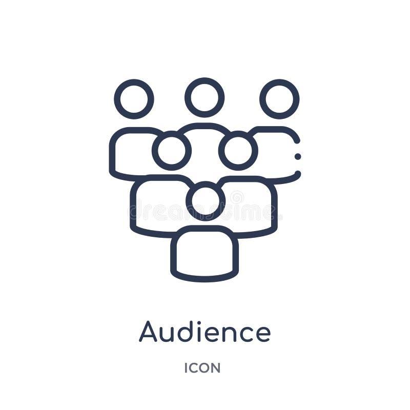 Icono linear de la audiencia de la colección del esquema del hockey Línea fina icono de la audiencia aislado en el fondo blanco a ilustración del vector