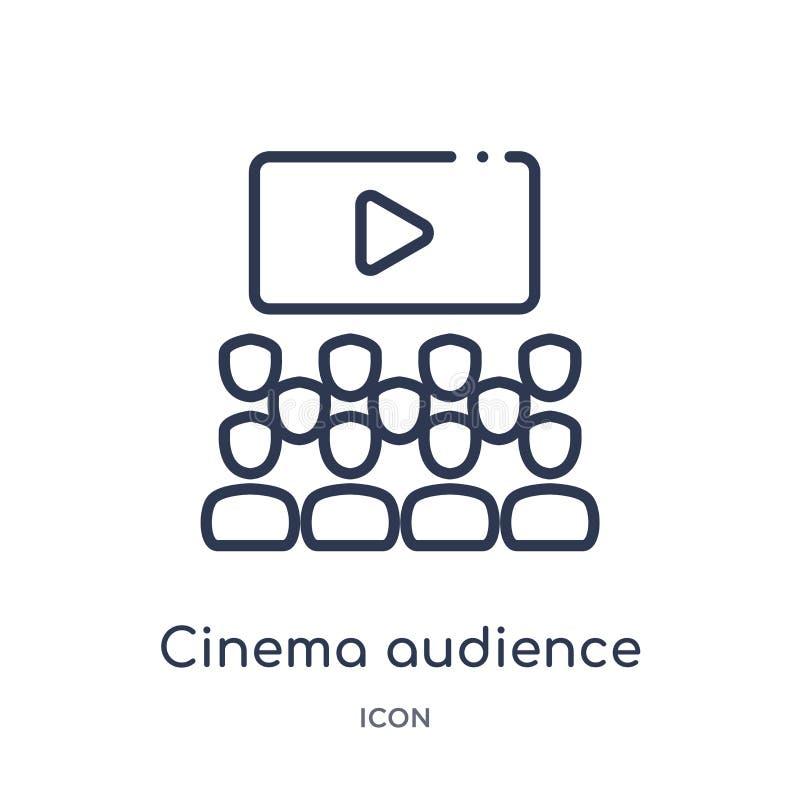 Icono linear de la audiencia del cine de la colección del esquema del cine Línea fina vector de la audiencia del cine aislado en  libre illustration
