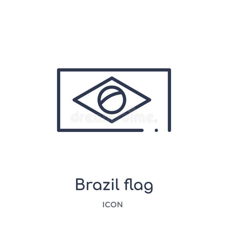 Icono linear de la bandera del Brasil de la colección del esquema de la cultura Línea fina vector de la bandera del Brasil aislad ilustración del vector