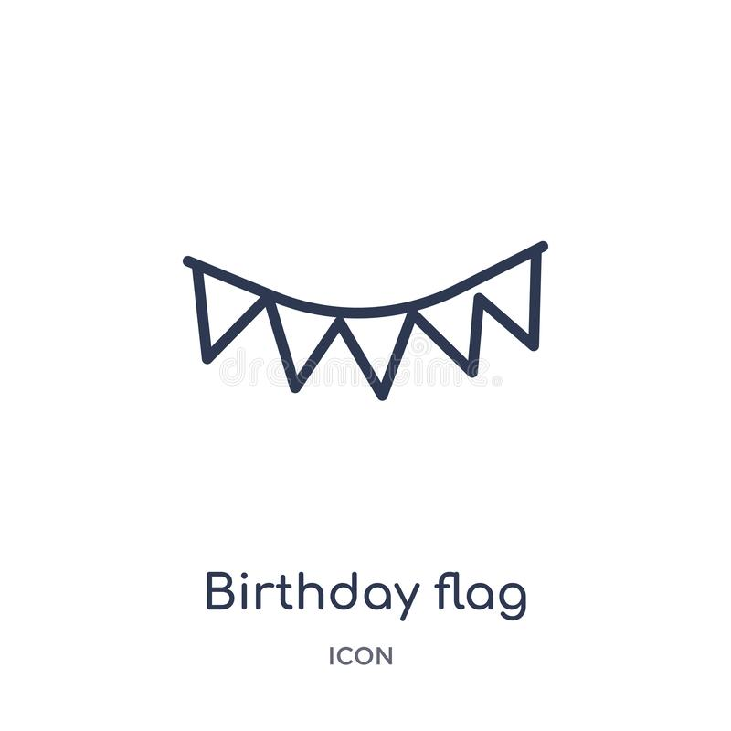 Icono linear de la bandera del cumpleaños de la colección del esquema de la fiesta de cumpleaños Línea fina vector de la bandera  ilustración del vector