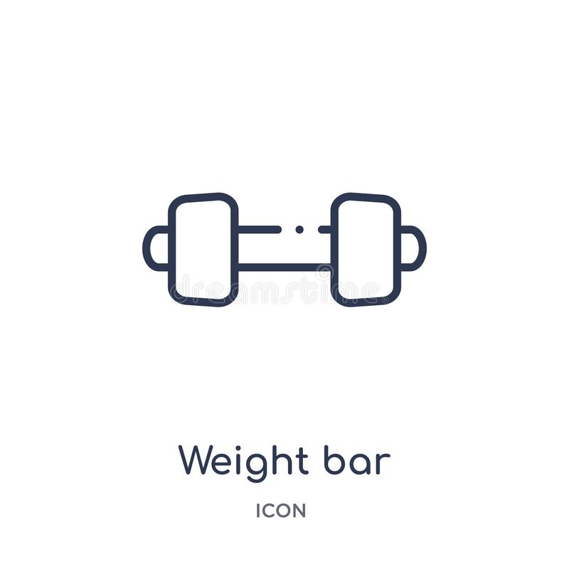 Icono linear de la barra del peso del gimnasio y de la colección del esquema de la aptitud Línea fina icono de la barra del peso  ilustración del vector
