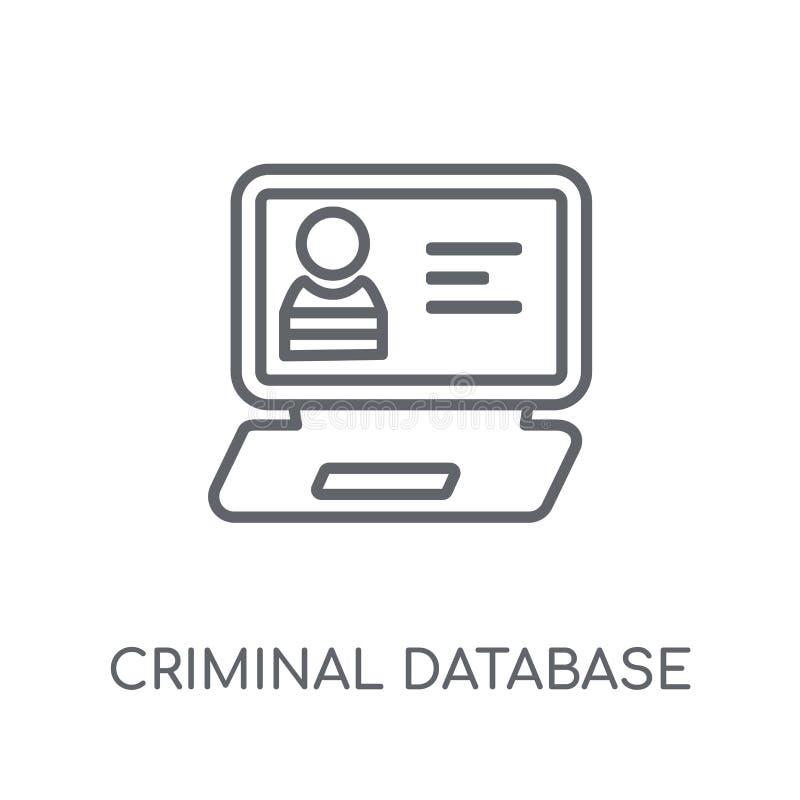 Icono linear de la base de datos criminal Base de datos criminal del esquema moderno ilustración del vector