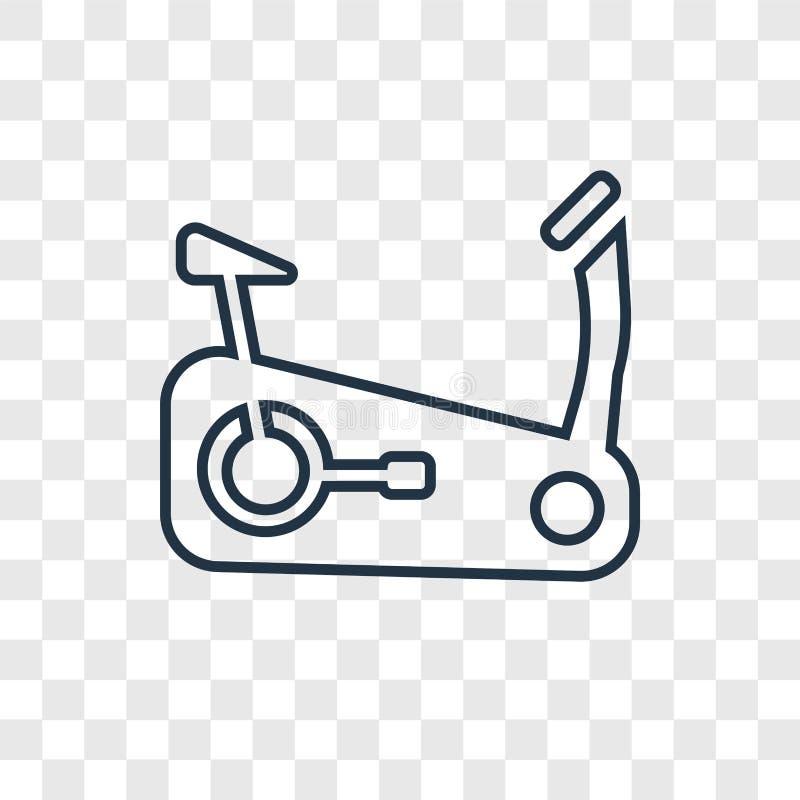 Icono linear de la bici del vector inmóvil del concepto aislado en transpare stock de ilustración