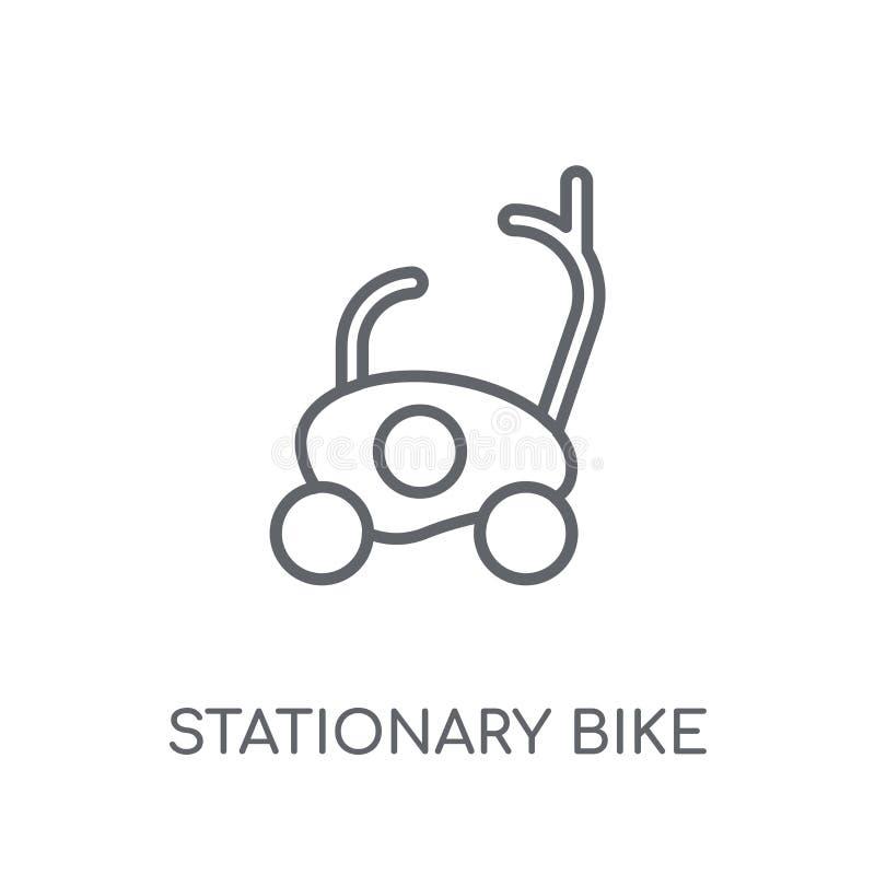 Icono linear de la bici inmóvil Logotipo inmóvil de la bici del esquema moderno stock de ilustración