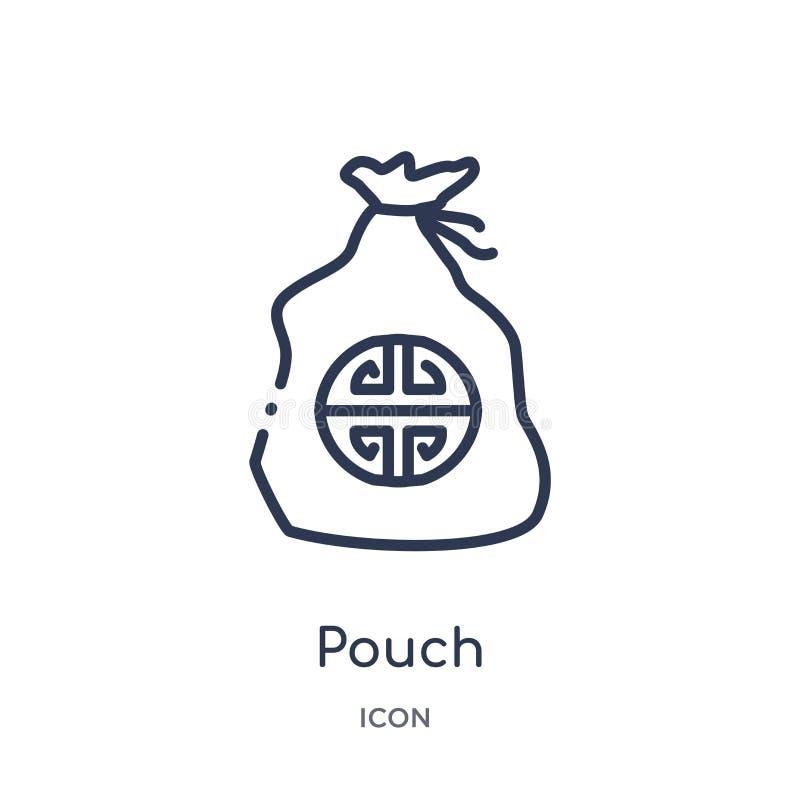 Icono linear de la bolsa de la colección asiática del esquema Línea fina vector de la bolsa aislado en el fondo blanco ejemplo de stock de ilustración