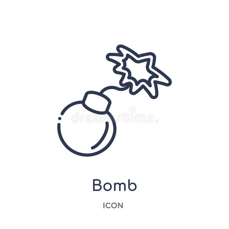 Icono linear de la bomba de la colección del esquema del ejército y de la guerra Línea fina vector de la bomba aislado en el fond ilustración del vector